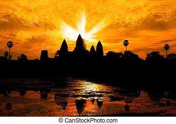 Angkor Wat - Silhouette of Angor Wat temple in the sunrise