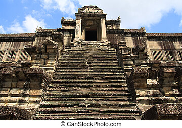 Steps leading to Angkor Wat stone towers, Cambodia, Asia