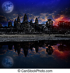 Angkor wat sunrise, Siem reap, Cambodia, was inscribed on the UNESCO World Heritage List in 1992. Elements of this image furnished by NASA.