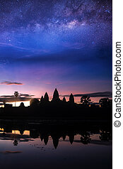 Angkor wat temple with morning sunrise and star