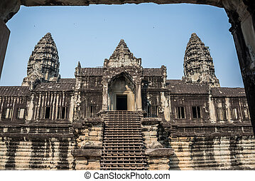 Angkor Wat Window. Religion, Tradition, Culture. Cambodia, Asia.