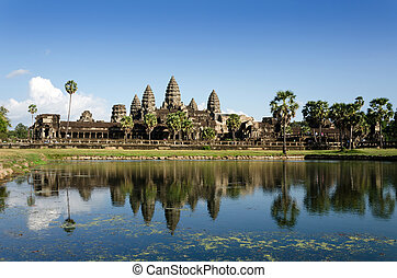 Angkor Wat with reflection in water in Siem Reap, Cambodia