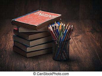 anglaise, bois, livre, table, apprentissage, concept.