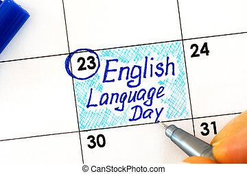 anglaise, doigts, calendar., langue, stylo, écriture femme, jour, rappel