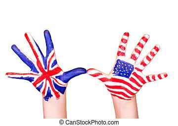anglaise, drapeaux, américain, hands.
