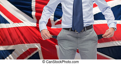 anglaise, haut, poches, homme affaires, fin, vide