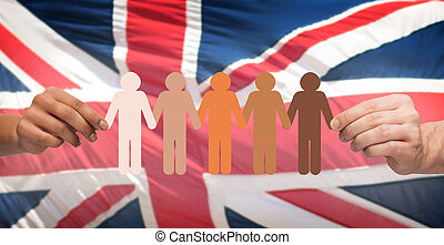 anglaise, pictogramme, sur, gens, drapeau, tenant mains