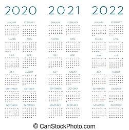 anglaise, vecteur, calendrier, 2020-2021-2022