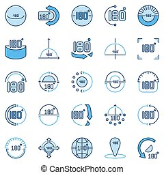 Angle 180 Degrees blue vector icons collection