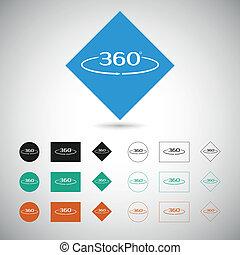 Angle 360 degrees sign. Geometry symbol. Full rotation.