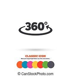 Angle 360 degrees sign icon. Geometry math symbol. Full...