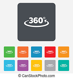 Angle 360 degrees sign icon. Geometry math symbol. Full rotation. Rounded squares 11 buttons. Vector