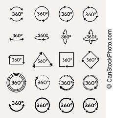 Angle 360 degrees vector icons set