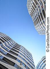 angle, appartements, nouveau, bâtiments, extérieur, prise vue large