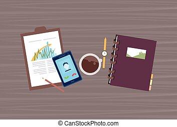 angle, bureau affaires, appeler, téléphone portable, lieu travail, au-dessus, bureau, intelligent, vue