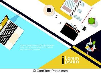 angle, business, espace, sommet, cahier, lieu travail, bureau, informatique, copie, bannière, ordinateur portable, vue