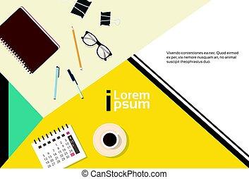angle, business, espace, sommet, cahier, lieu travail, calendrier bureau, copie, bannière, vue