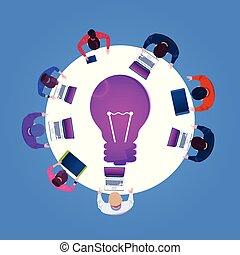angle, business, gens fonctionnement, sommet, idées, créatif, équipe, nouveau, vue