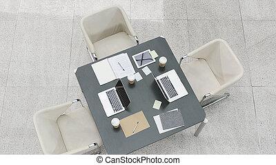 angle, chaises, élevé, table, réunion, vue