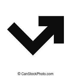 angle, droit, tourner, icône flèche