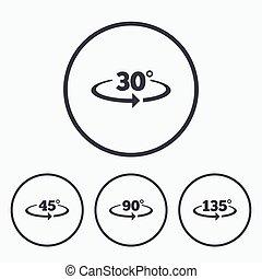 angle, géométrie, icons., degrés, math, signs.