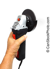 Angle Grinder - Close up of hand holding an angle grinder,...