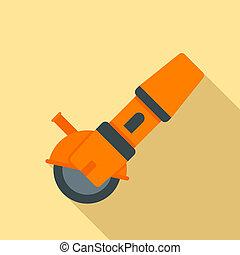 Angle grinder icon, flat style