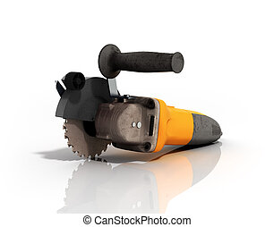 Angle grinder isolated on white background 3d render
