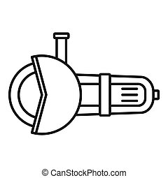 Angle grinder tool icon, outline style