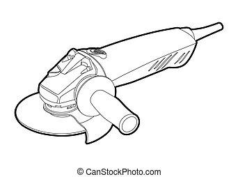 angle grinder - vector outline angle electric grinder on ...