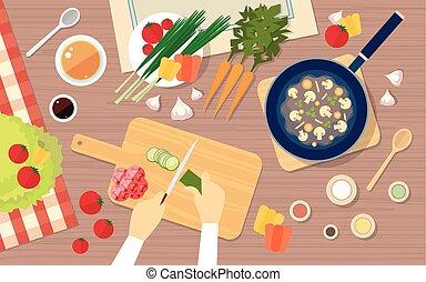 angle, légumes, sain, sommet, cuisine, main, nourriture, couper, table, vue cuisine