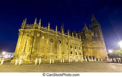 angle, large, cathédrale séville, coup