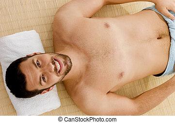 angle, mâle, haute vue, sourire, spa