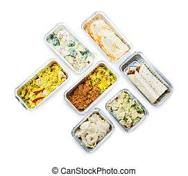 angle, nourriture, élevé, fleuret, savoureux, récipients, vue