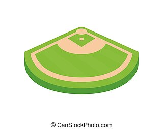Angle of the baseball field. View from above. Vector illustration on white background.