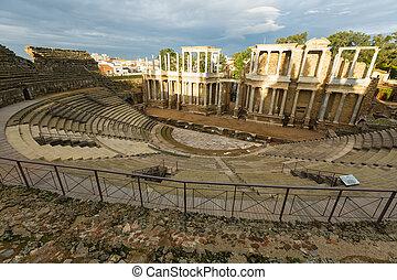 angle, prise vue large, romain, théâtre