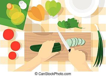angle, processus, légumes, cuisine, sain, couper, nourriture, table, concombre, cuisine, vue dessus