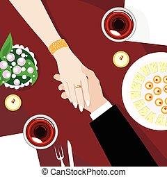angle, restaurant, couple, tenue, table, mains, vue dessus