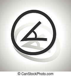 Angle sign sticker, curved