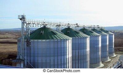 angle, sommet, tank., grain, en mouvement, vue, image, silo