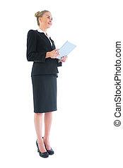 angle, tablette, elle, femme affaires, bas, tenue, vue côté
