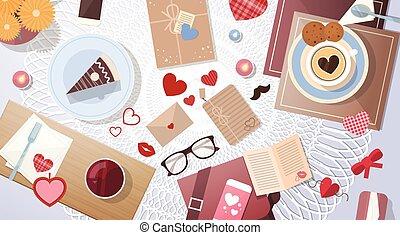 angle, tasse, sommet, valentin, gâteau, table, décoré, jour, vue