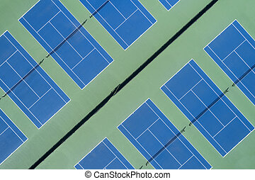 Angled Aerial View Tennis Courts