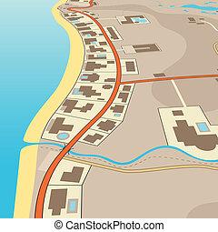 Angled beachfront - Editable vector illustration of an...