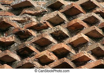 Angled brick wall