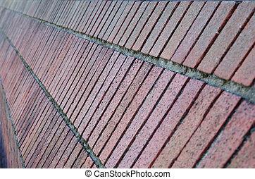 Angled brick wall perspective