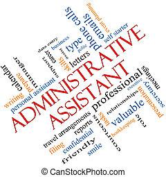 angled, conceito, palavra, assistente, administrativo, nuvem