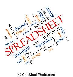 angled, conceito, palavra, spreadsheet, nuvem