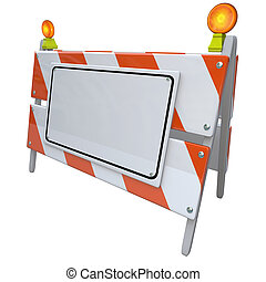 Angled Construction Road Barrier Barricade Sign Blank Copy Space Warning Danger