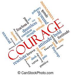 angled, coragem, conceito, palavra, nuvem